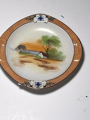 Noritake Japan  Scenic Hand Painted Porcelain Wall Plaque Swans Cottage Pond