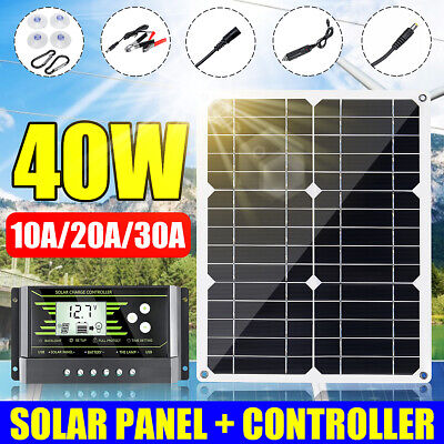 40W Flexible Mono Solar Panel Dual USB DC Battery Charger + 10/20/30A Controller