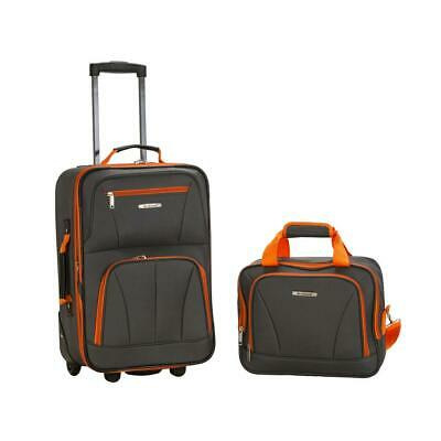 LUGGAGE SET 2 Piece Charcoal Polyester Full Lining Carry On Bag Skate Wheel New