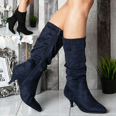 Ladies Womens Mid Calf Heel Zip Rouched Slouched Fashion Winter Boots Shoes Size