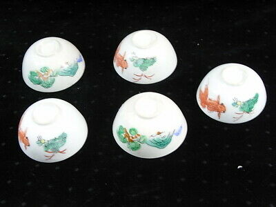5 Ancien Bol Coupe Porcelaine Emaille Asiatique Chine China Famille Rose Verte