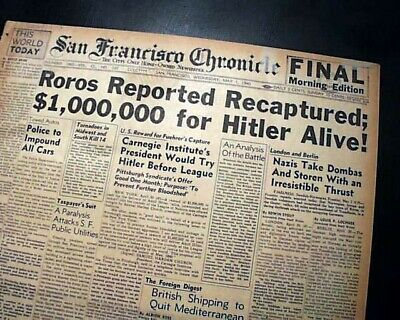 ADOLPH HITLER Wanted Alive for $1,000,000 Reward by Americans1940 WWII Newspaper