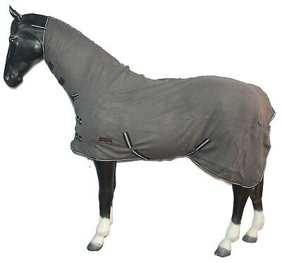 Pony Cob Horse Show Travel Stable Cooler Sheet Fleece Combo Rug All Sizes *Grey*
