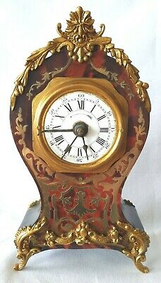 Antique Miniature Boulle Clock With Alarm French Pendulum Winders Red Shell Rare
