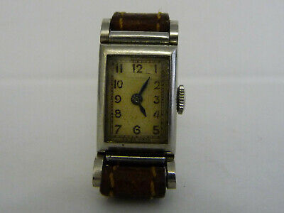 Vintage Swiss Made Art Deco Ladies wrist watch; Analogue face; Silver steel case