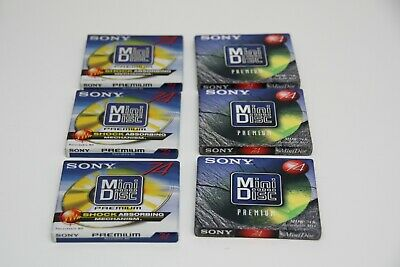 6 NEW recordable SONY MiniDisc Bundle 74 80 With Cases Premium Sealed