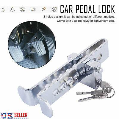 UK Silver Auto Car Brake Clutch Pedal Lock Stainless Anti-Theft Strong Security