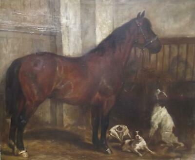 ANTIQUE French Master Oil Painting HORSE & HOUNDS IN A LOOSE BOX Signed c1870