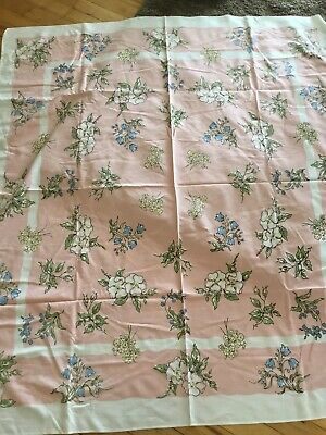 "VINTAGE cotton pink yellow Blue FLORAL TABLE CLOTH 46"" BY 51"" pastel"