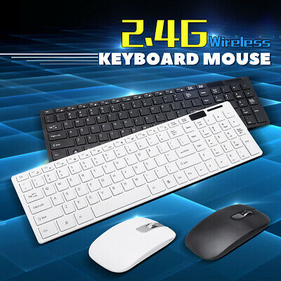 Slim 2.4GHz Wireless Keyboard and Mouse Set Full-Size USB PC Laptop