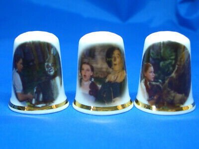 Fine Porcelain China Thimbles - Set Of  Three Wizard Of Oz Scenes