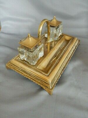 Lovely Vintage Brass Desk Stand With Two Glass Inkwells