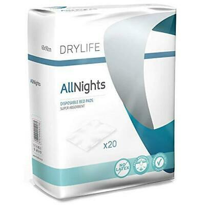 Drylife All Nights Disposable Bed Pads - 60x90cm (Pack of 20) 1 Pack 20