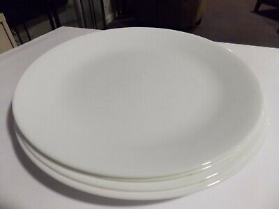 """(4) Corelle Corning  Winter Frost White  10 1/4"""" Dinner Plates Dishes"""