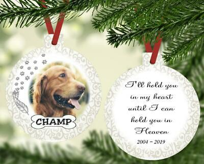 PET PHOTO MEMORIAL ORNAMENT Personalized With Name Photo Poem Paw Prints Dates