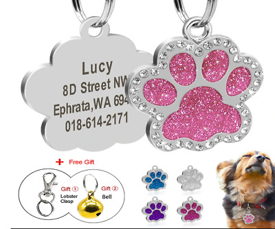 Personalized Dog Tags Engraved Cat Puppy Pet ID Name Collar Tag Glitter Gift