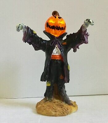 Lemax Spooky Town Lighted Evil Pumpkin Jack o Lantern Head battery operated