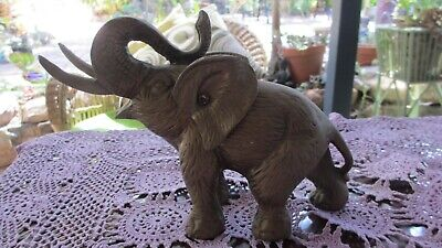 VINTAGE BRASS ELEPHANT TRUNK UP  FIGURINE ORNAMENT Detailed