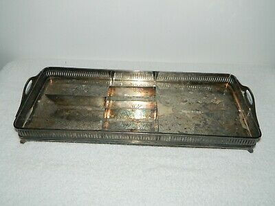 Wilcox S P Co Silver Plate Footed Vanity Dresser Rectangular Tray Monogramed K