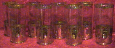 Vintage Set Of 8 Culver Antigua Gold Highball Tumblers