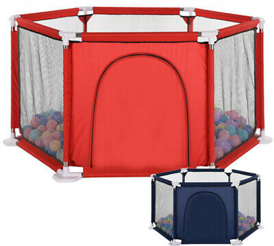 Baby Playpen Fence by 6 Sides with Round Zipper Door Play Pen for Toddlers Baby