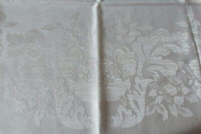Vintage White Linen Tablecloth & 4 Matching Napkins-White On White Sheen-Floral