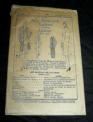 Vintage 1920'S Butterick~Straight-Line Coat For Women And Misses'~Sewing Pattern