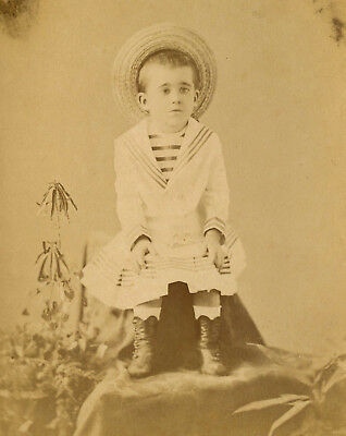 Antique Photo Cabinet Card CUTE LITTLE BOY IN DRESS FASHION by BUST