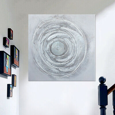 Modern Hand-painted Art Oil Painting Abstract Circles Wall Decor Canvas Framed