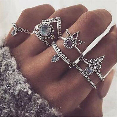 8PCS Set Silver Gold Boho Charm Arrow Gemstone Midi Finger Knuckle Ring Jewelry