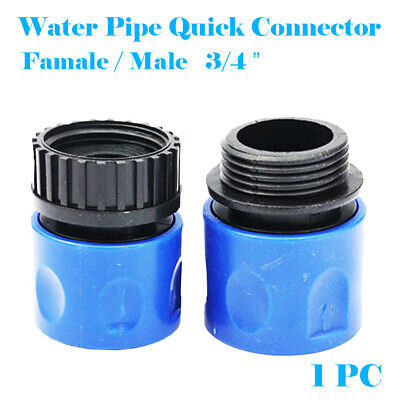 """3/4"""" BSP Male / Female Expanding Hose Quick Connector with Thread in Blue"""