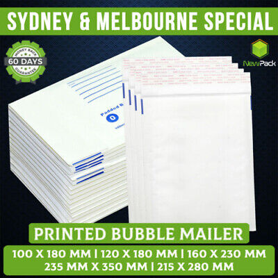 Bubble Padded White Mailer Envelope Bag 100x180 160x230 215x280 Printed #01 #02
