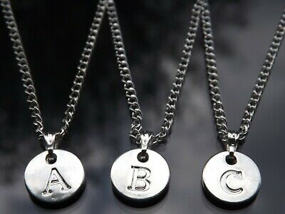 """Silver Plated A - Z Initial Necklace with Letter Disc Pendant & 20"""" Chain"""