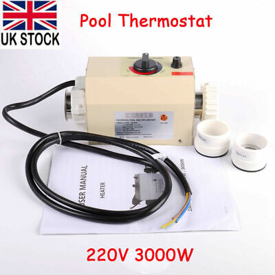 220V 3KW Electric Water Heater Thermostat Swimming Pool SPA Bath Heater Pump