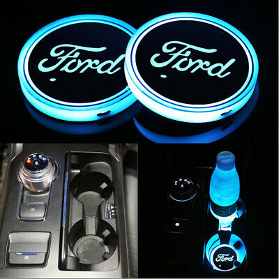 2x colorful LED Car Cup Holder Pad Mats Auto Interior Atmosphere Lights For Ford