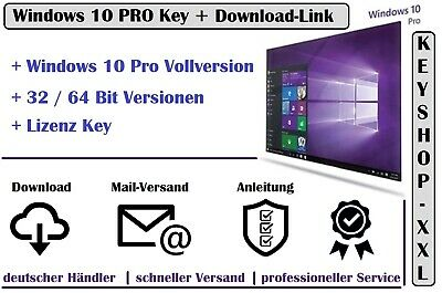 Windows 10 Pro * 32 / 64 Bit Vollversion | Win 10 Key Aktivierungsschlüssel Mail