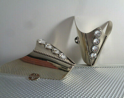 """Antique  Pewter Rope  Boot Tips opening 2.25 /""""  Set Southwestern"""