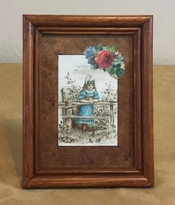 1880's Victorian Ephemera Framed, Victorian Young Girl, Fence, Flowers