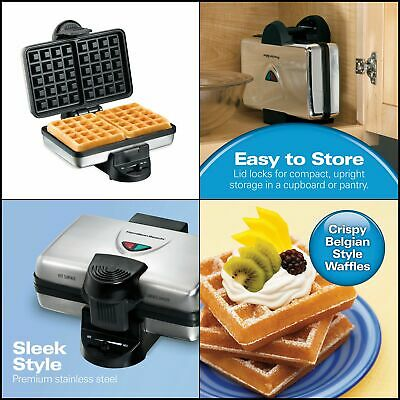 Hamilton Beach 26009 Nonstick Belgian Waffle Maker. Easy to Use. Stainless Steel