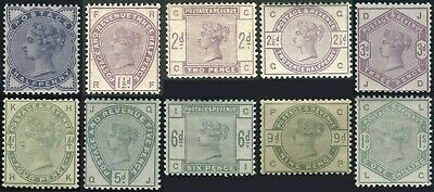1883-1884 Lilac & Greens Sg 187-Sg 196 Average Mounted Mint Single Stamps