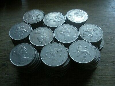 25 old large 10p coins,ideal for old fruit machines, TEN pence Bulk lot