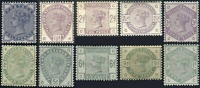 1883-1884 Lilac & Greens Sg 187-Sg 196 Average Used Single Stamps