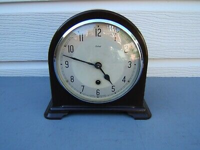 "Smiths Bakelite mantel clock no striking design dome top 8"" high     B5"