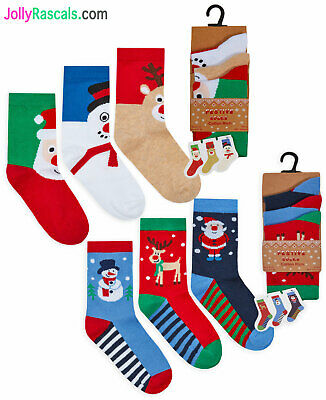 Kids Christmas Socks Boys Girls Xmas 3 PACK Ankle Socks 3 Pair Kids New UK Sizes