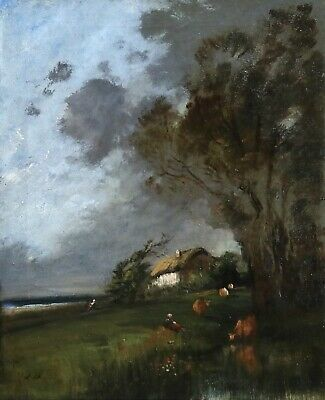 Jules Dupre (1811-1889) Signed French Barbizon Oil Canvas Cattle Cottage By Sea