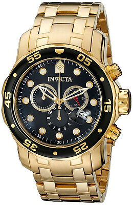 Invicta Men Pro Diver 0072 Chrono 18KT Gold Plated Stainless Blk New