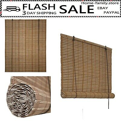 Bamboo Roman Wooden Roll Up Blinds Woven Brown Natural Indoor 46 X 64 Inches