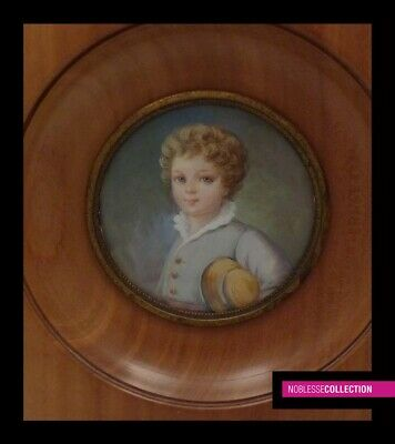 ANTIQUE FRENCH MINIATURE PAINTING WATERCOLOR 1900s Portrait of a young boy