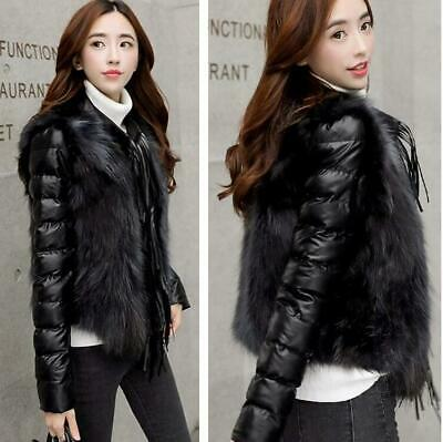 Trend Women Tassel Faux Fox Fur Leather Jacket Padded Thicken Outwear Parka Coat