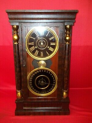 Very Nice Looking Old Original 8 Day National Calendar  Clock Project